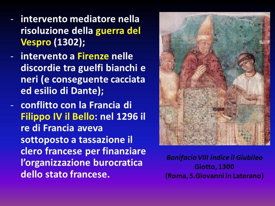 -intervento mediatore nella risoluzione della guerra del Vespro (1302); -intervento a Firenze nelle discordie tra guelfi bianchi e neri (e conseguente