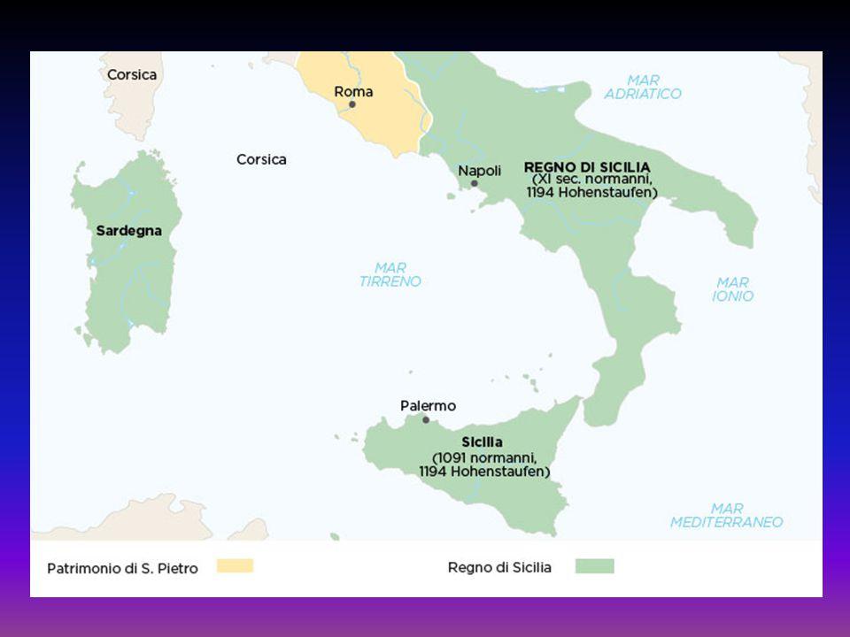 Dopo il breve regno di Corrado IV (1250-1254) e di Corradino (1254-1258), Manfredi (1258-1266), figlio di Federico II, cercò di continuare l'opera del padre: -contrastare il Papa; -riaffermare l'autorità dell'Impero sui Comuni italiani.