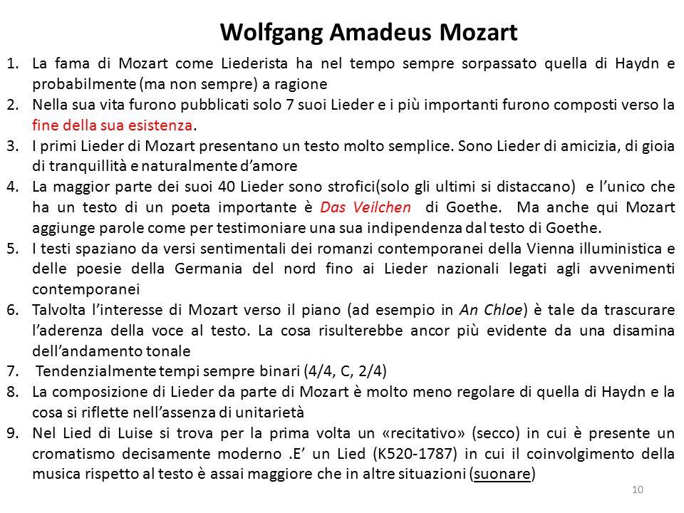1.La fama di Mozart come Liederista ha nel tempo sempre sorpassato quella di Haydn e probabilmente (ma non sempre) a ragione 2.Nella sua vita furono p