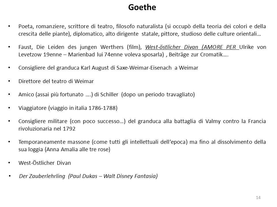 Goethe 14 Poeta, romanziere, scrittore di teatro, filosofo naturalista (si occupò della teoria dei colori e della crescita delle piante), diplomatico,