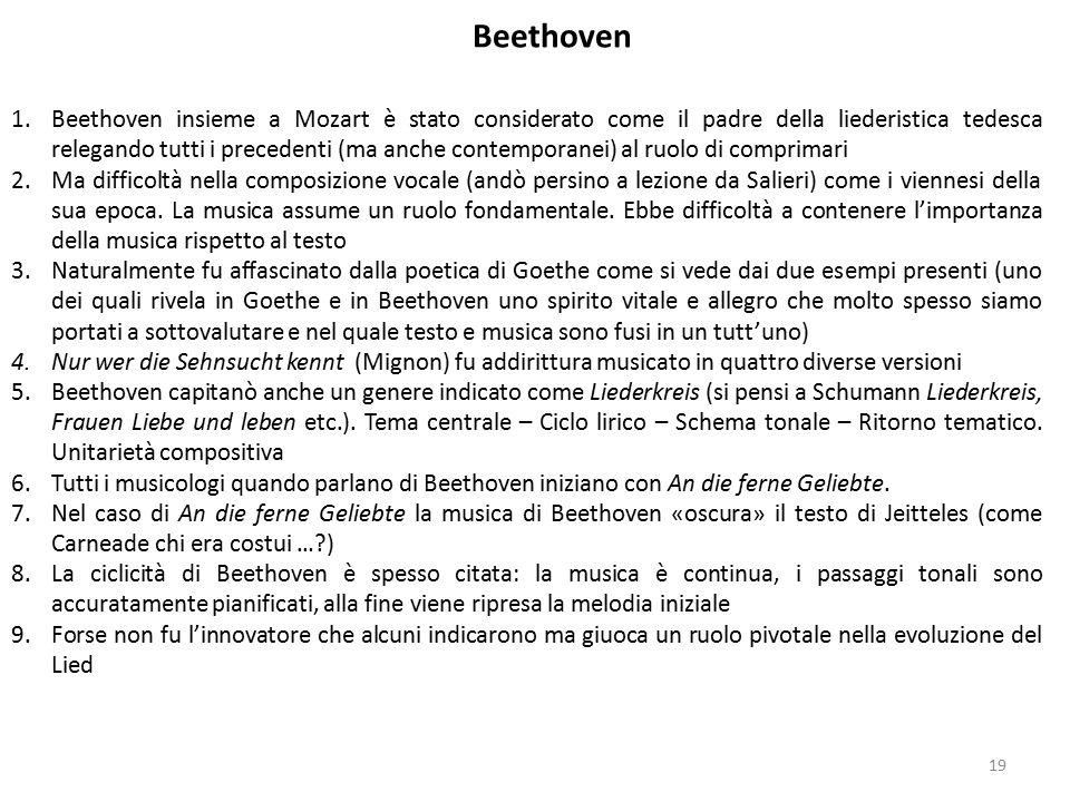 1.Beethoven insieme a Mozart è stato considerato come il padre della liederistica tedesca relegando tutti i precedenti (ma anche contemporanei) al ruo