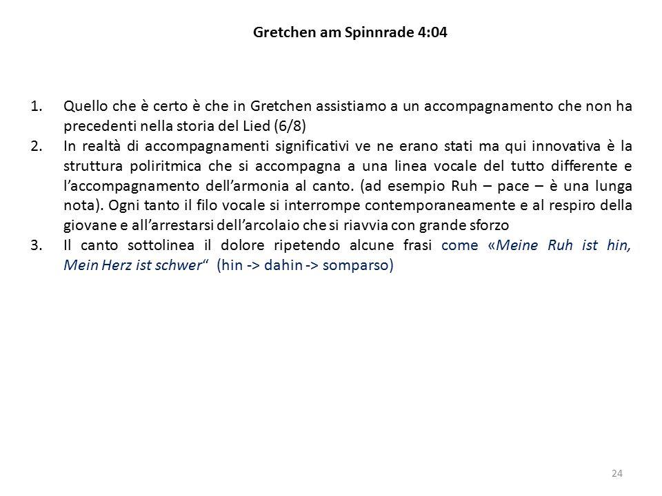 24 Gretchen am Spinnrade 4:04 1.Quello che è certo è che in Gretchen assistiamo a un accompagnamento che non ha precedenti nella storia del Lied (6/8)