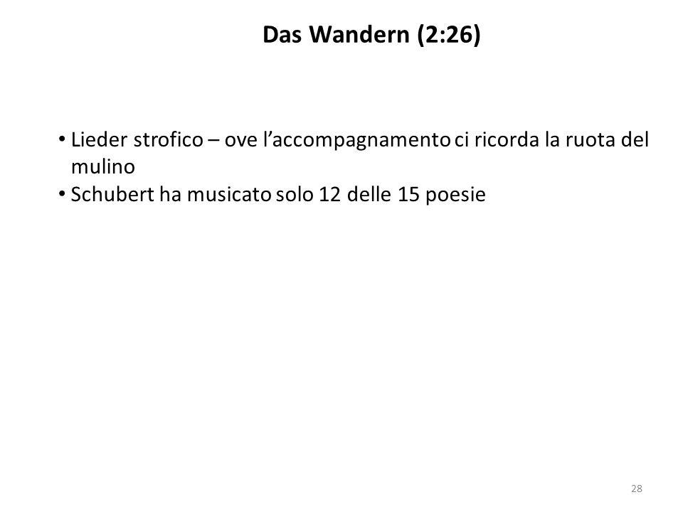 Lieder strofico – ove l'accompagnamento ci ricorda la ruota del mulino Schubert ha musicato solo 12 delle 15 poesie Das Wandern (2:26) 28