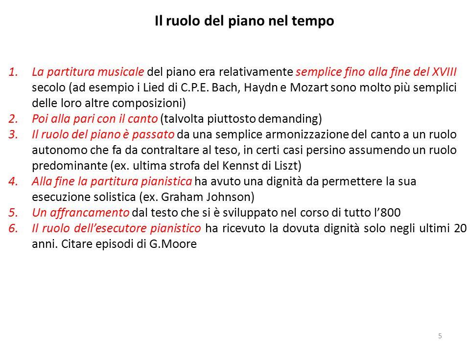1.La partitura musicale del piano era relativamente semplice fino alla fine del XVIII secolo (ad esempio i Lied di C.P.E. Bach, Haydn e Mozart sono mo