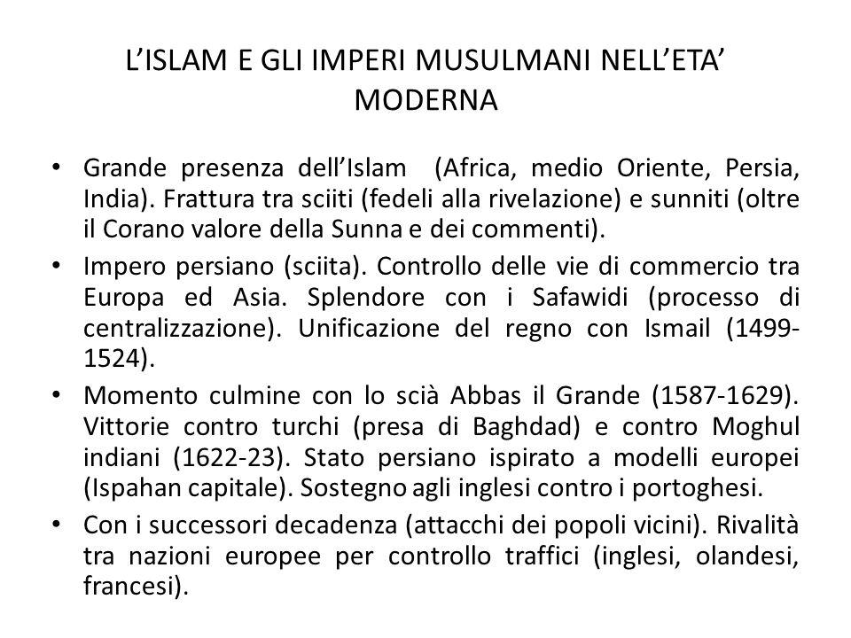 L'ISLAM E GLI IMPERI MUSULMANI NELL'ETA' MODERNA Grande presenza dell'Islam (Africa, medio Oriente, Persia, India). Frattura tra sciiti (fedeli alla r