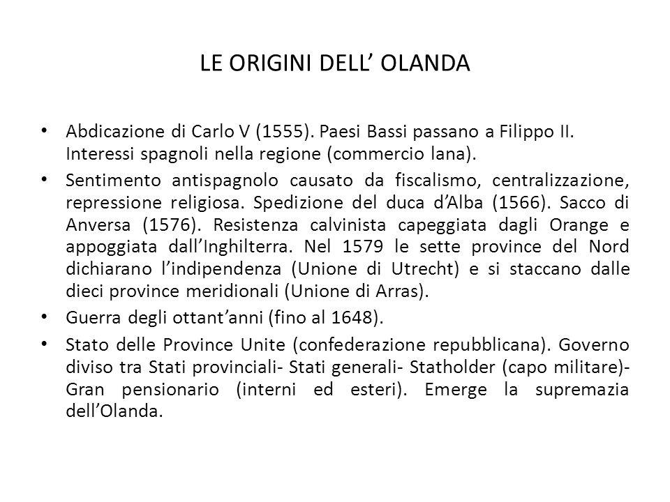 LE ORIGINI DELL' OLANDA Abdicazione di Carlo V (1555). Paesi Bassi passano a Filippo II. Interessi spagnoli nella regione (commercio lana). Sentimento