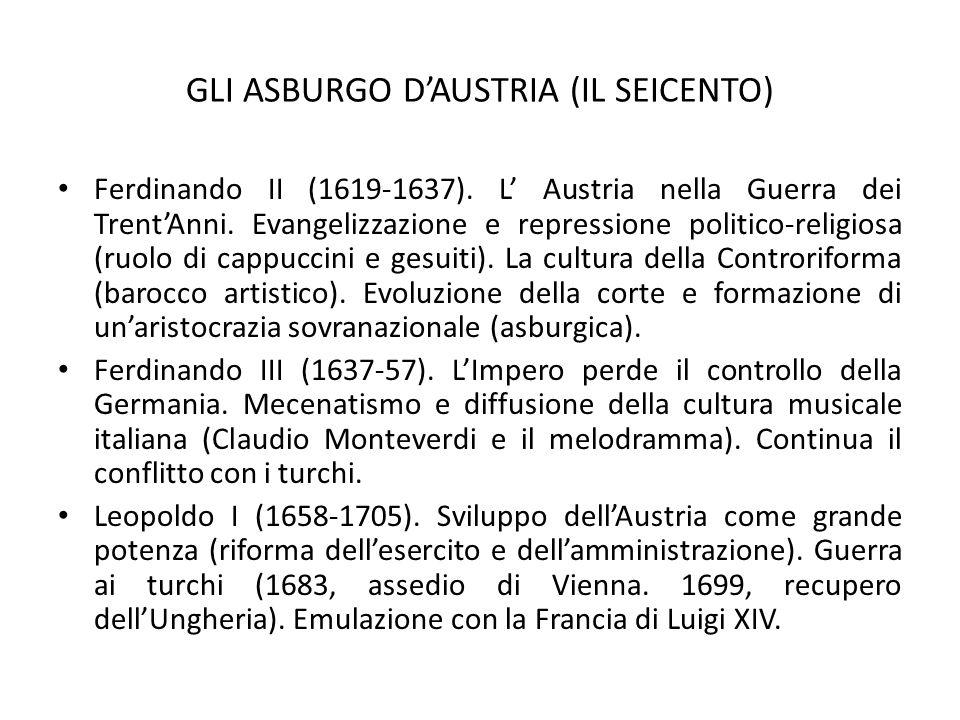 GLI ASBURGO D'AUSTRIA (IL SEICENTO) Ferdinando II (1619-1637). L' Austria nella Guerra dei Trent'Anni. Evangelizzazione e repressione politico-religio