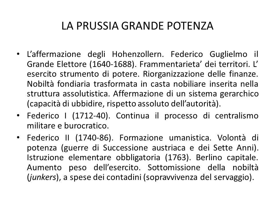 LA PRUSSIA GRANDE POTENZA L'affermazione degli Hohenzollern. Federico Guglielmo il Grande Elettore (1640-1688). Frammentarieta' dei territori. L' eser