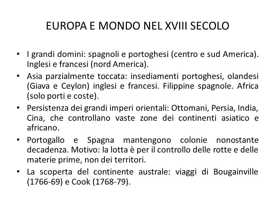 EUROPA E MONDO NEL XVIII SECOLO I grandi domini: spagnoli e portoghesi (centro e sud America). Inglesi e francesi (nord America). Asia parzialmente to
