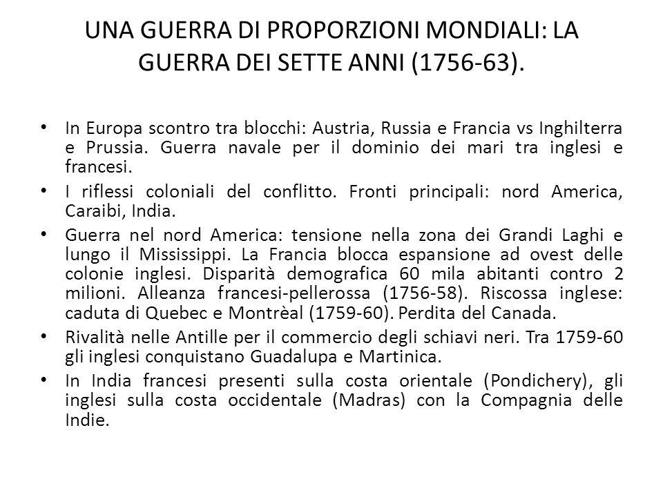 UNA GUERRA DI PROPORZIONI MONDIALI: LA GUERRA DEI SETTE ANNI (1756-63). In Europa scontro tra blocchi: Austria, Russia e Francia vs Inghilterra e Prus