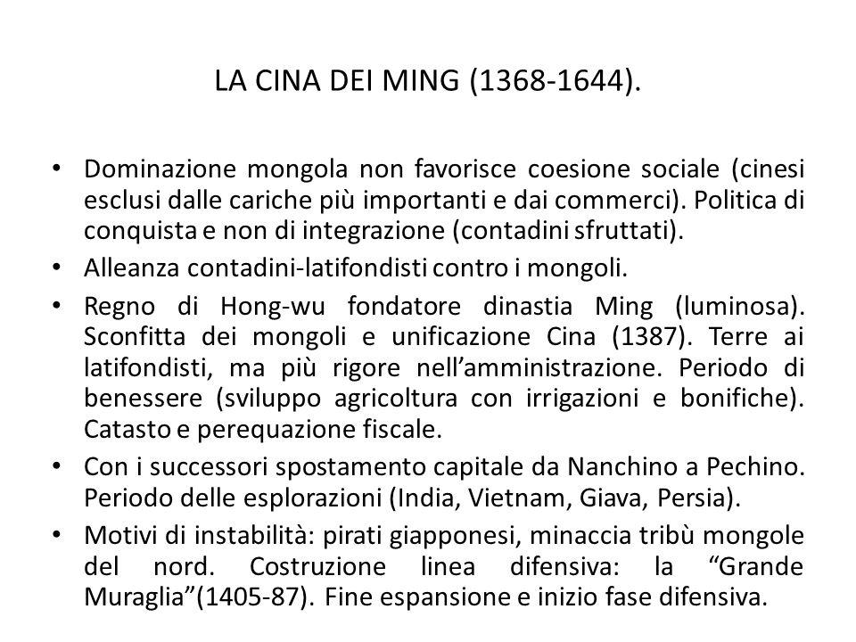 LA CINA DEI MING (1368-1644). Dominazione mongola non favorisce coesione sociale (cinesi esclusi dalle cariche più importanti e dai commerci). Politic