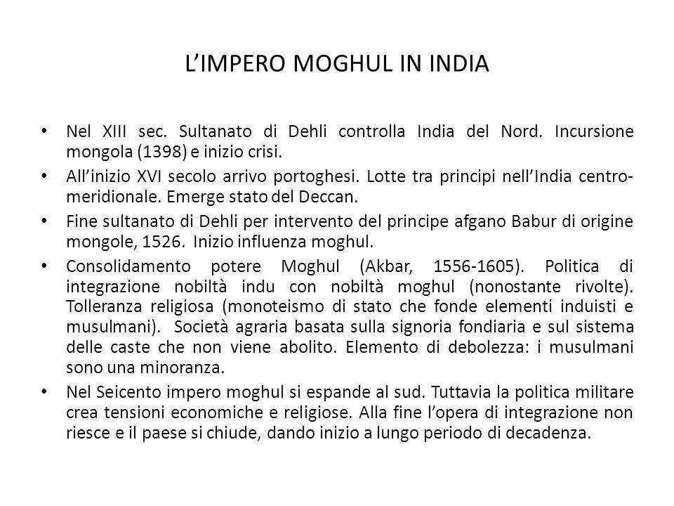 L'IMPERO MOGHUL IN INDIA Nel XIII sec. Sultanato di Dehli controlla India del Nord. Incursione mongola (1398) e inizio crisi. All'inizio XVI secolo ar