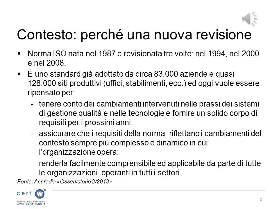 Contesto: perché una nuova revisione  Norma ISO nata nel 1987 e revisionata tre volte: nel 1994, nel 2000 e nel 2008.
