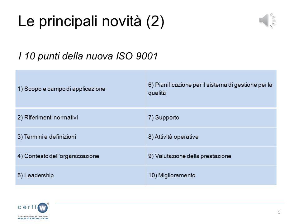 Le principali novità (2) I 10 punti della nuova ISO 9001 1) Scopo e campo di applicazione 6) Pianificazione per il sistema di gestione per la qualità 2) Riferimenti normativi7) Supporto 3) Termini e definizioni8) Attività operative 4) Contesto dell'organizzazione9) Valutazione della prestazione 5) Leadership10) Miglioramento 5