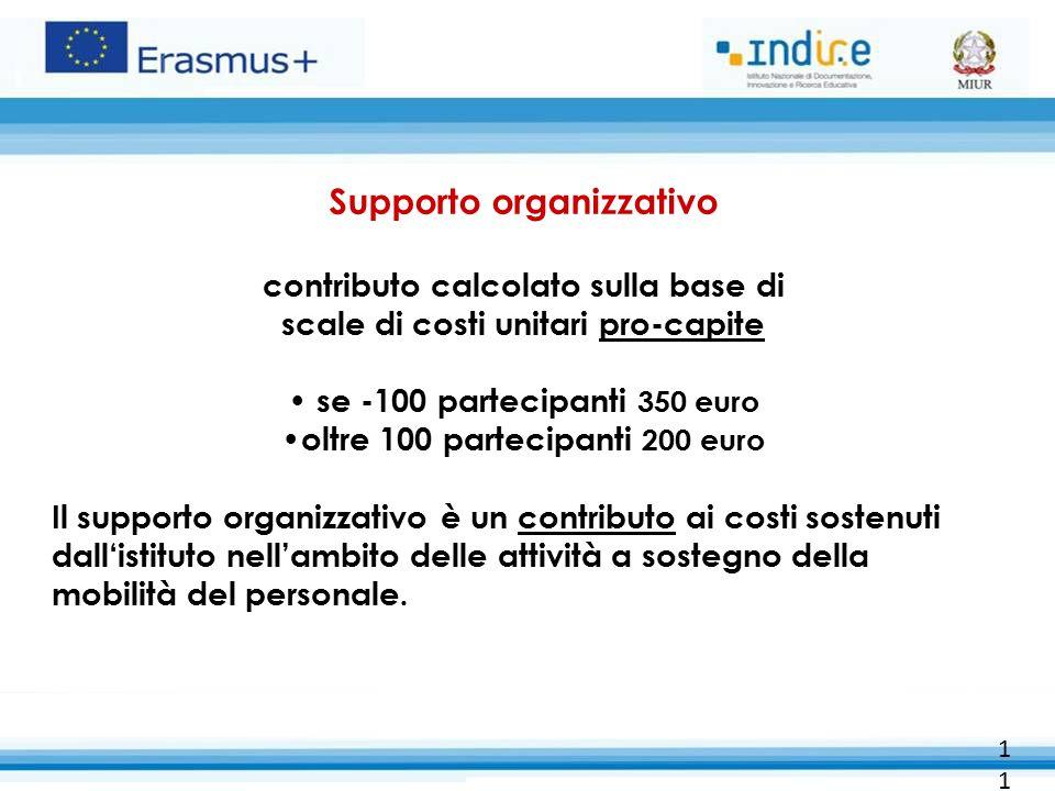 11 Supporto organizzativo contributo calcolato sulla base di scale di costi unitari pro-capite se -100 partecipanti 350 euro oltre 100 partecipanti 200 euro Il supporto organizzativo è un contributo ai costi sostenuti dall'istituto nell'ambito delle attività a sostegno della mobilità del personale.