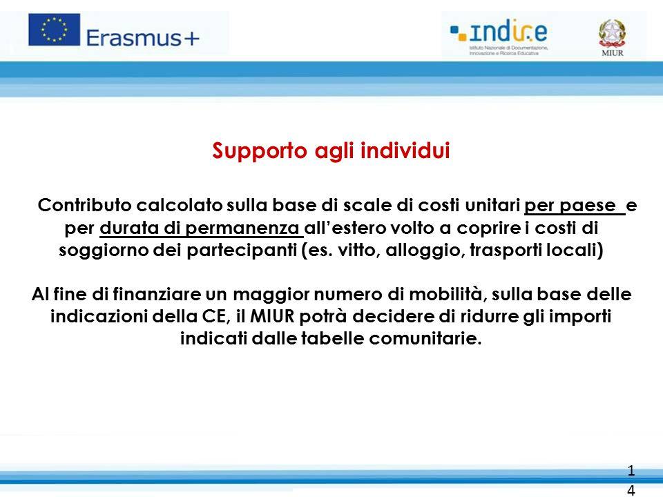 14 Supporto agli individui Contributo calcolato sulla base di scale di costi unitari per paese e per durata di permanenza all'estero volto a coprire i