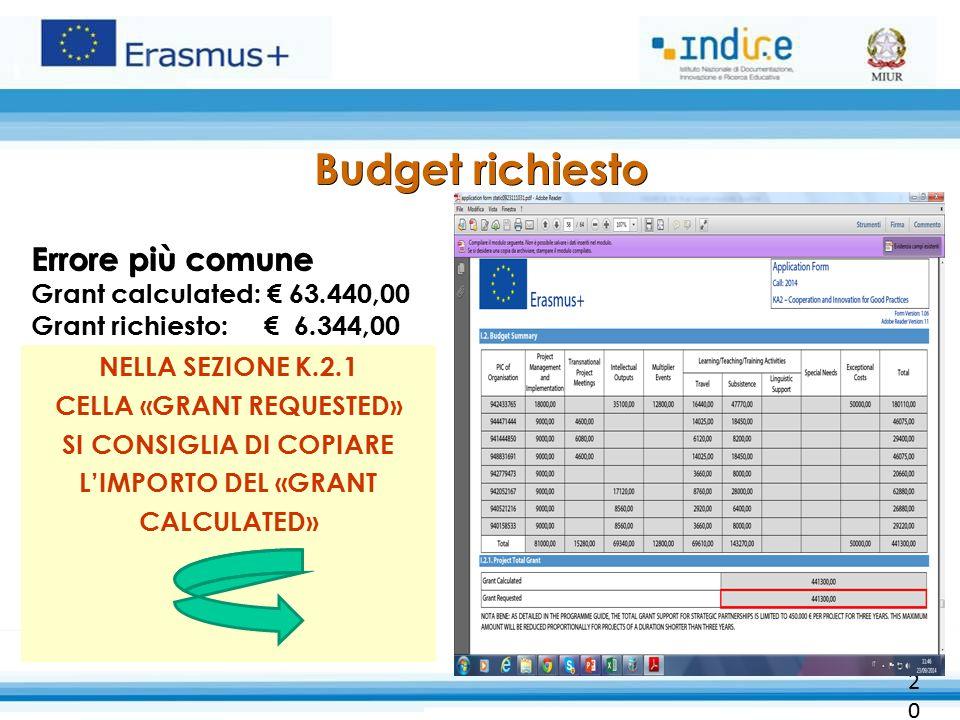 Budget richiesto Errore più comune Budget richiesto Errore più comune Grant calculated: € 63.440,00 Grant richiesto: € 6.344,00 NELLA SEZIONE K.2.1 CELLA «GRANT REQUESTED» SI CONSIGLIA DI COPIARE L'IMPORTO DEL «GRANT CALCULATED» 20