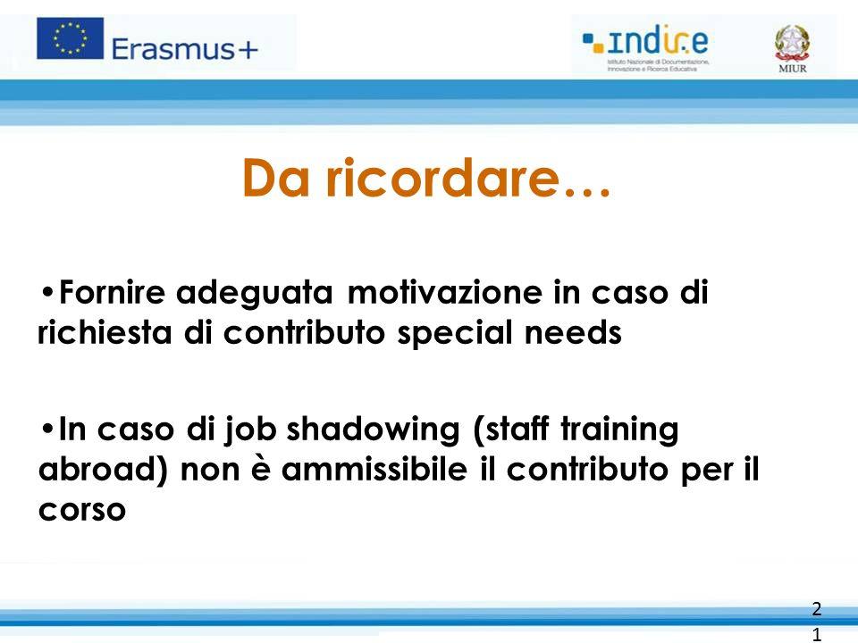 Da ricordare… Fornire adeguata motivazione in caso di richiesta di contributo special needs In caso di job shadowing (staff training abroad) non è amm