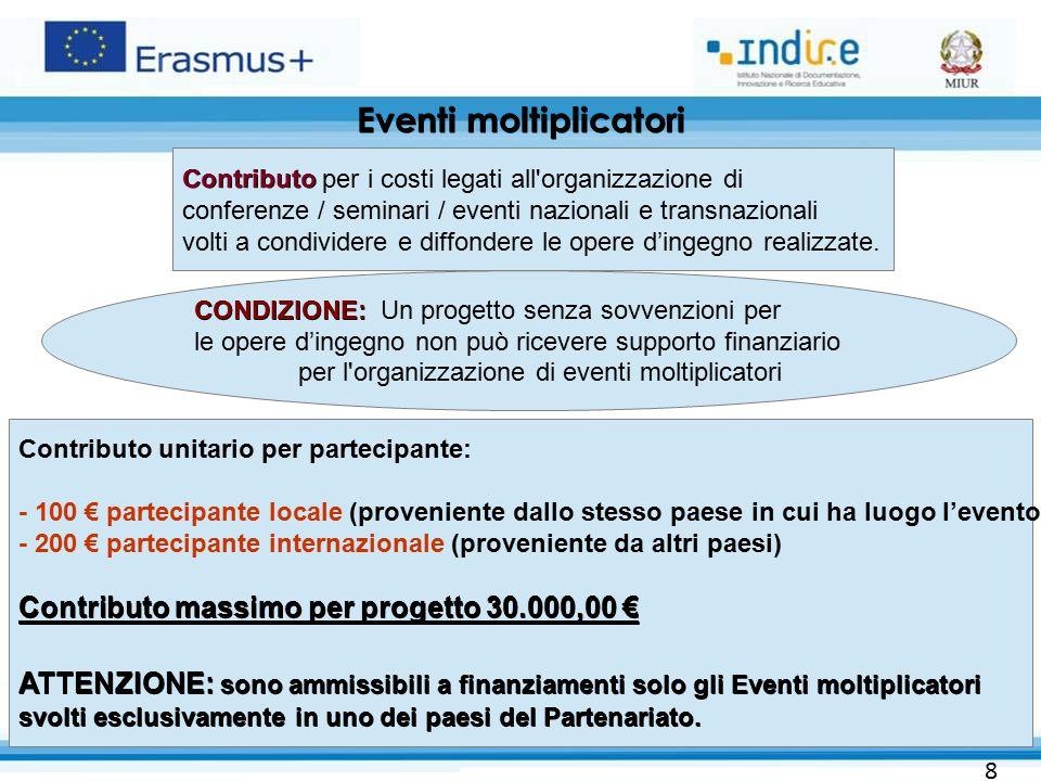 Eventi moltiplicatori 28 CONDIZIONE: CONDIZIONE: Un progetto senza sovvenzioni per le opere d'ingegno non può ricevere supporto finanziario per l'orga