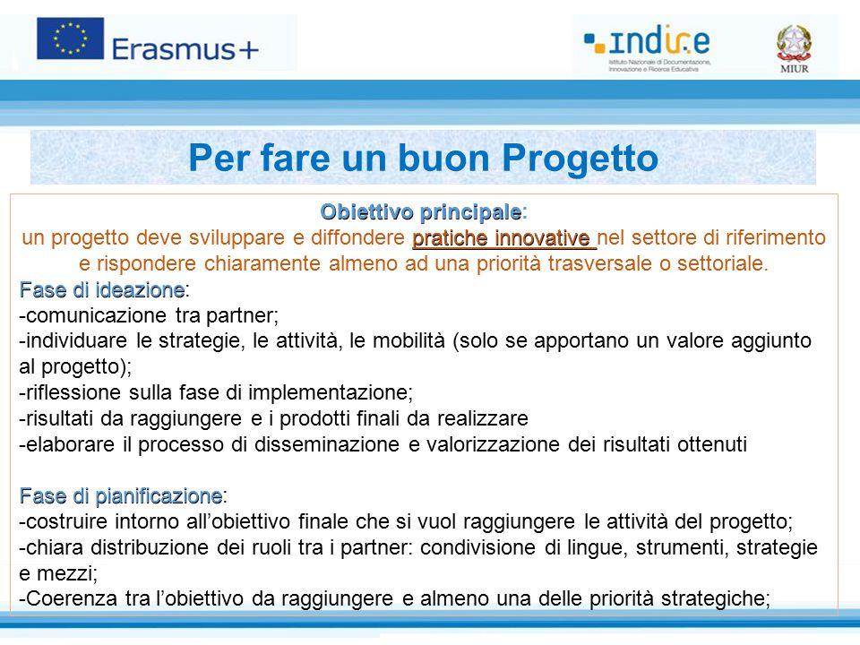 Obiettivo principale Obiettivo principale: pratiche innovative un progetto deve sviluppare e diffondere pratiche innovative nel settore di riferimento e rispondere chiaramente almeno ad una priorità trasversale o settoriale.