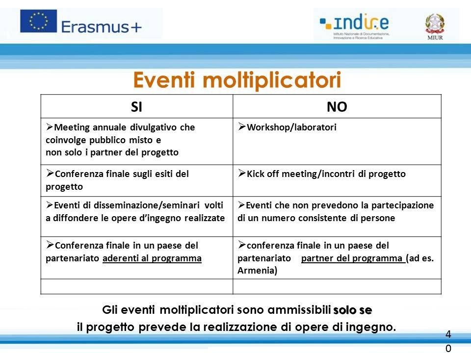 Eventi moltiplicatori solo se Gli eventi moltiplicatori sono ammissibili solo se il progetto prevede la realizzazione di opere di ingegno. 40 SINO  M