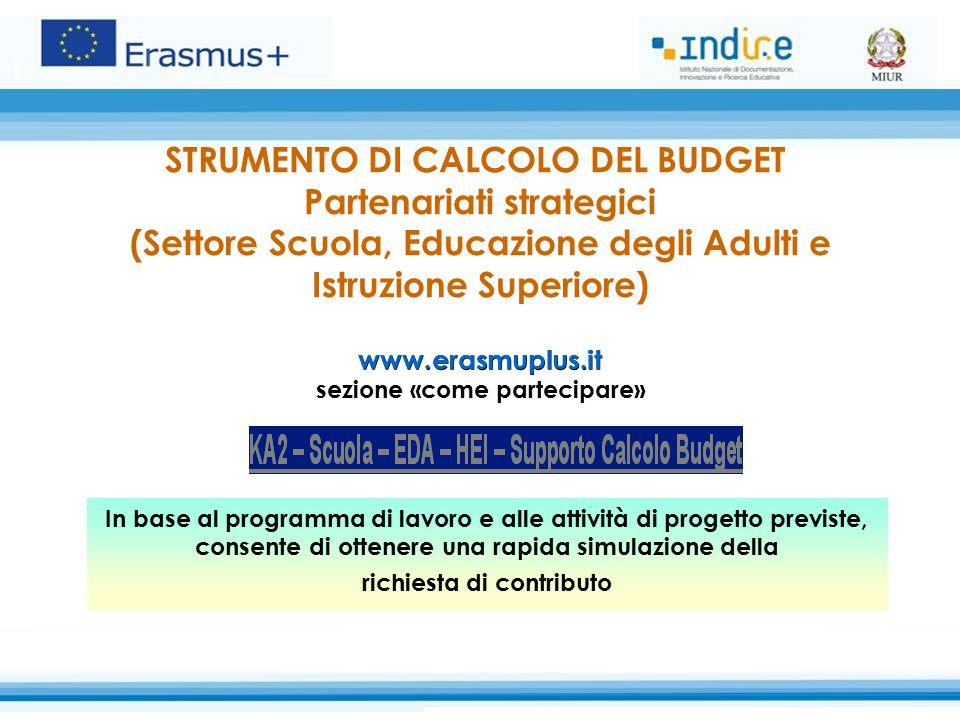 www.erasmuplus.it STRUMENTO DI CALCOLO DEL BUDGET Partenariati strategici (Settore Scuola, Educazione degli Adulti e Istruzione Superiore) www.erasmup