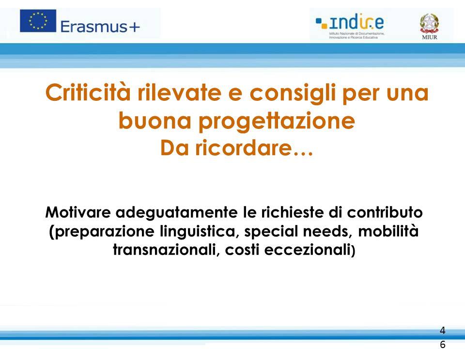 Criticità rilevate e consigli per una buona progettazione Da ricordare… Motivare adeguatamente le richieste di contributo (preparazione linguistica, s