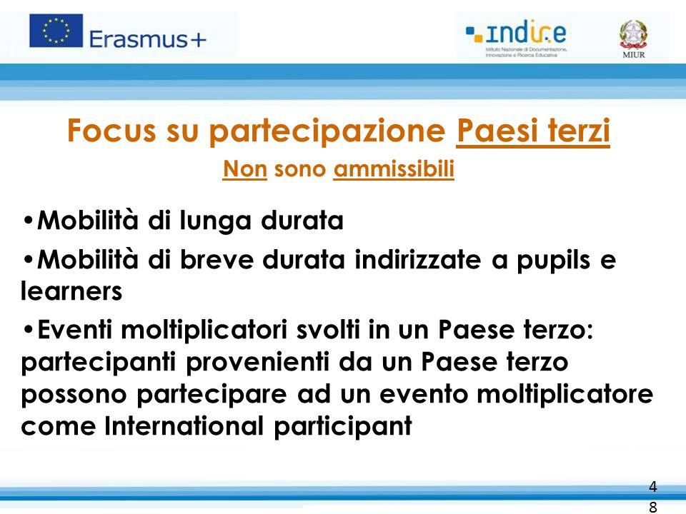 Focus su partecipazione Paesi terzi Non sono ammissibili Mobilità di lunga durata Mobilità di breve durata indirizzate a pupils e learners Eventi molt