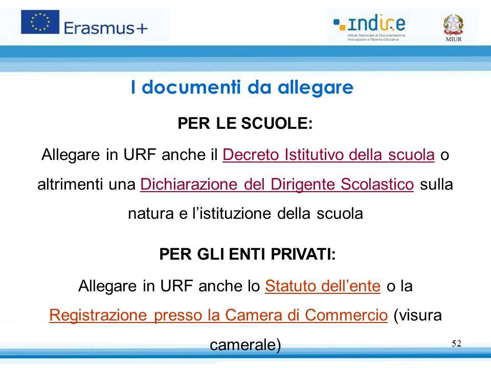 52 I documenti da allegare PER LE SCUOLE: Allegare in URF anche il Decreto Istitutivo della scuola o altrimenti una Dichiarazione del Dirigente Scolas