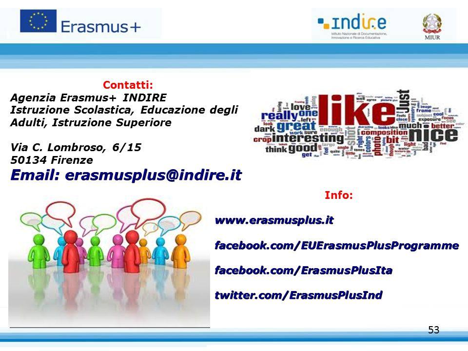 53 Contatti: Agenzia Erasmus+ INDIRE Istruzione Scolastica, Educazione degli Adulti, Istruzione Superiore Via C. Lombroso, 6/15 50134 Firenze Email: e