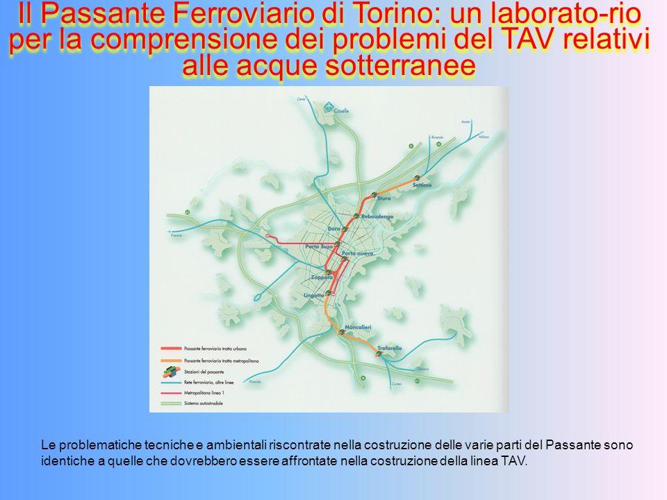 Il Passante Ferroviario di Torino: un laborato-rio per la comprensione dei problemi del TAV relativi alle acque sotterranee Le problematiche tecniche