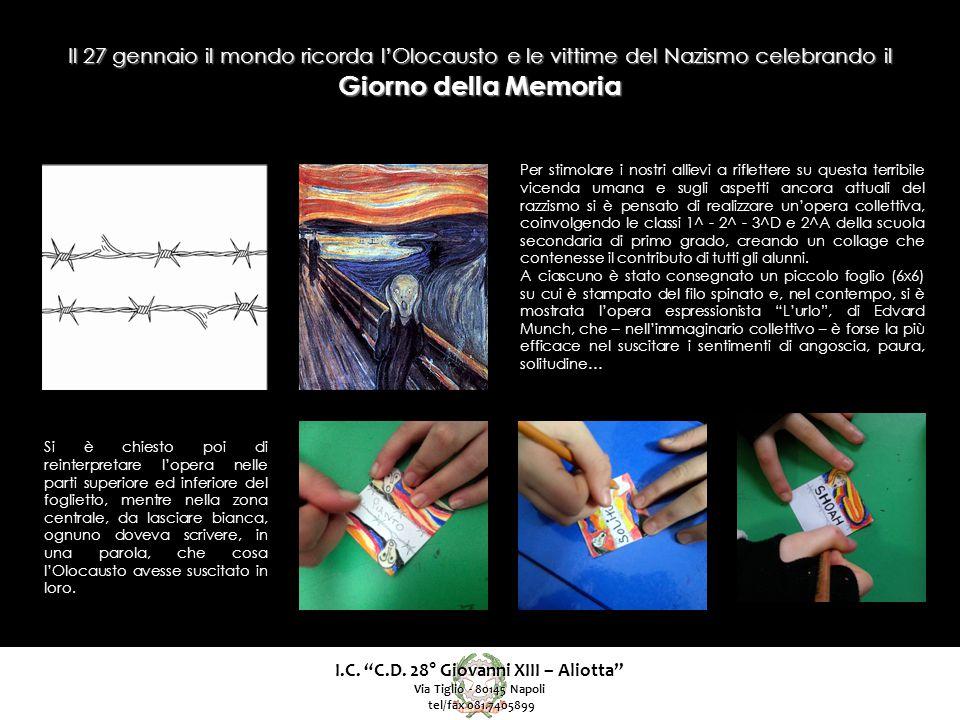 """I.C. """"C.D. 28° Giovanni XIII – Aliotta"""" Via Tiglio - 80145 Napoli tel/fax 081.7405899 tel/fax 081.7405899 Per stimolare i nostri allievi a riflettere"""