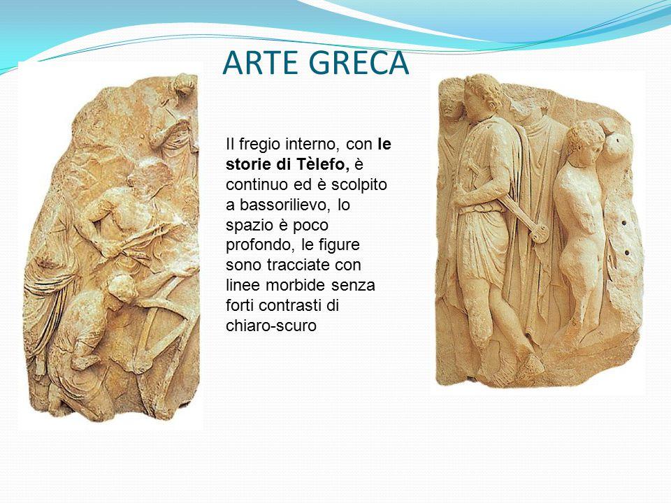 ARTE GRECA Il fregio interno, con le storie di Tèlefo, è continuo ed è scolpito a bassorilievo, lo spazio è poco profondo, le figure sono tracciate co
