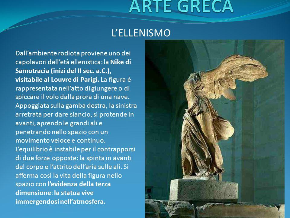 L'ELLENISMO Dall'ambiente rodiota proviene uno dei capolavori dell'età ellenistica: la Nike di Samotracia (inizi del II sec. a.C.), visitabile al Louv