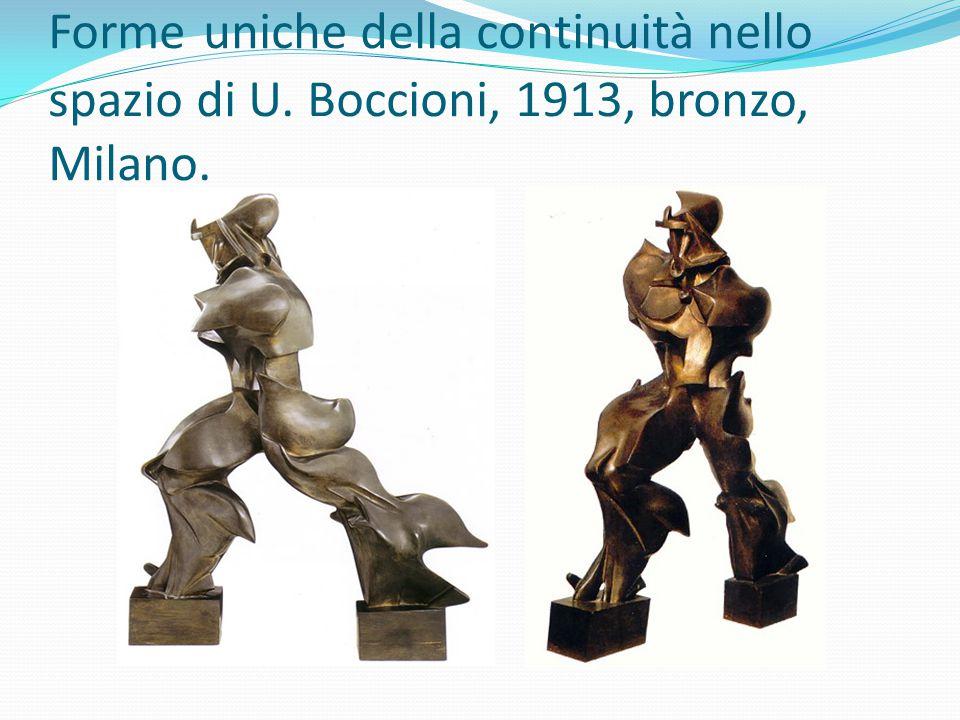 Forme uniche della continuità nello spazio di U. Boccioni, 1913, bronzo, Milano.