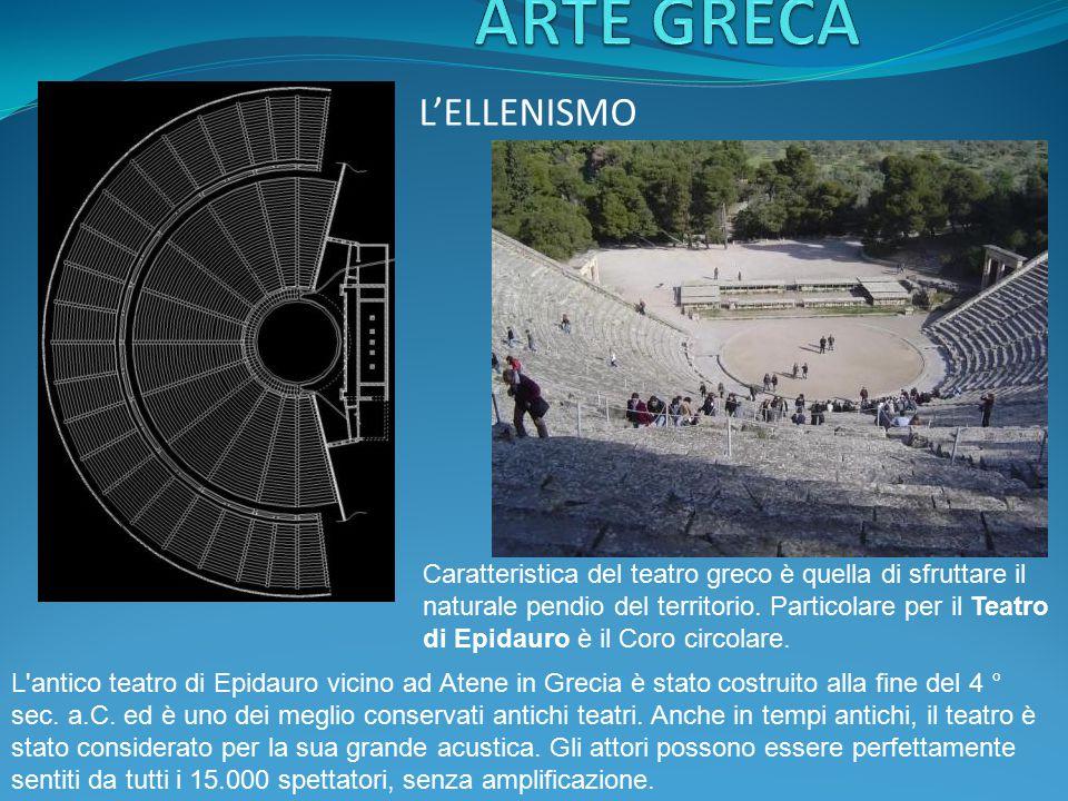 L'ELLENISMO Caratteristica del teatro greco è quella di sfruttare il naturale pendio del territorio. Particolare per il Teatro di Epidauro è il Coro c
