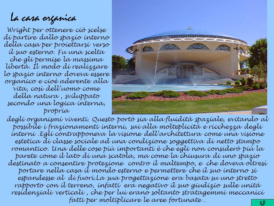 La casa organica Wright per ottenere ciò scelse di partire dallo spazio interno della casa per proiettarsi verso il suo esterno. Fu una scelta che gli