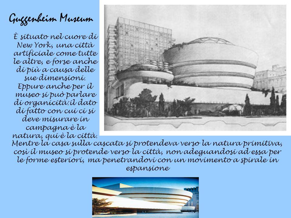 Guggenheim Museum È situato nel cuore di New York, una città artificiale come tutte le altre, e forse anche di più a causa delle sue dimensioni. Eppur