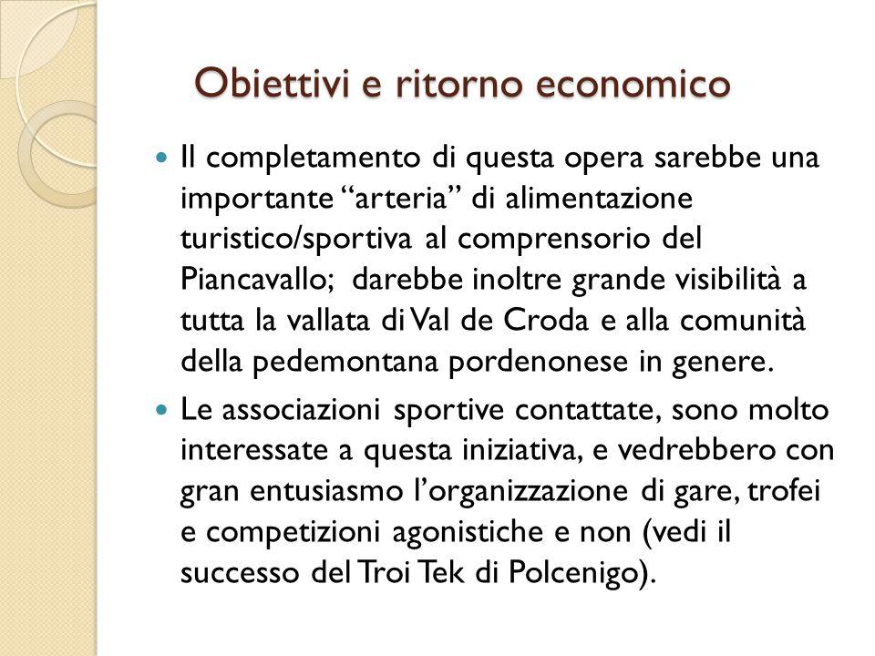 """Obiettivi e ritorno economico Il completamento di questa opera sarebbe una importante """"arteria"""" di alimentazione turistico/sportiva al comprensorio de"""