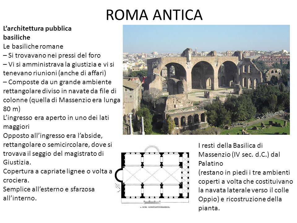 ROMA ANTICA L'architettura pubblica basiliche Le basiliche romane – Si trovavano nei pressi del foro – Vi si amministrava la giustizia e vi si tenevan