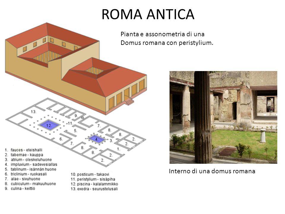 ROMA ANTICA Pianta e assonometria di una Domus romana con peristylium. Interno di una domus romana