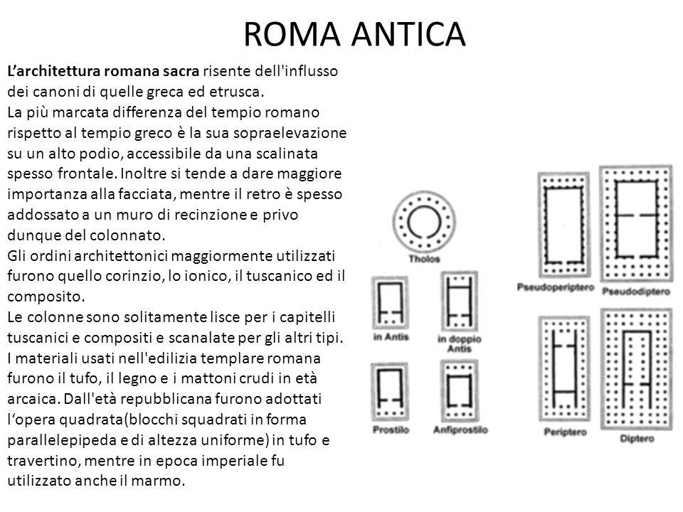 ROMA ANTICA IL TEMPIO ROMANO I templi romani avevano una struttura simile a quelli greci, ma presentavano anche alcune differenze: la cella era di dimensioni maggiori; erano rialzati sul podio e per accedere si utilizzava una scalinata.