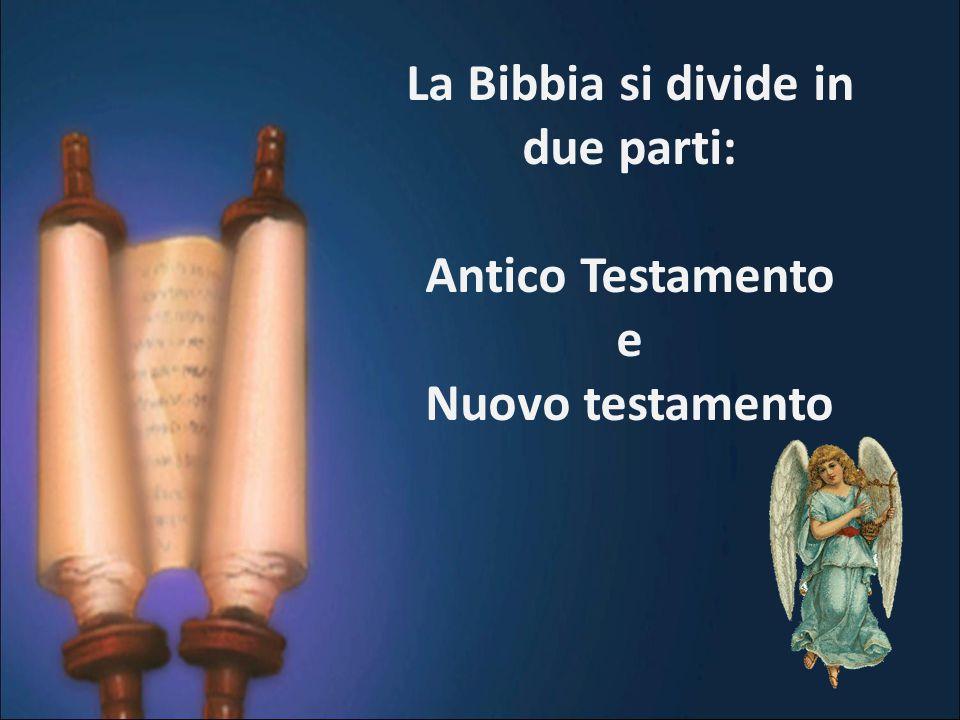La Bibbia si divide in due parti: Antico Testamento e Nuovo testamento