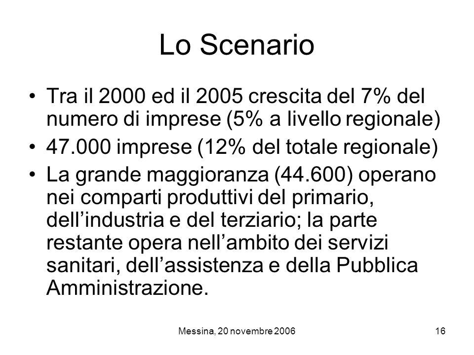 Messina, 20 novembre 200616 Lo Scenario Tra il 2000 ed il 2005 crescita del 7% del numero di imprese (5% a livello regionale) 47.000 imprese (12% del totale regionale) La grande maggioranza (44.600) operano nei comparti produttivi del primario, dell'industria e del terziario; la parte restante opera nell'ambito dei servizi sanitari, dell'assistenza e della Pubblica Amministrazione.