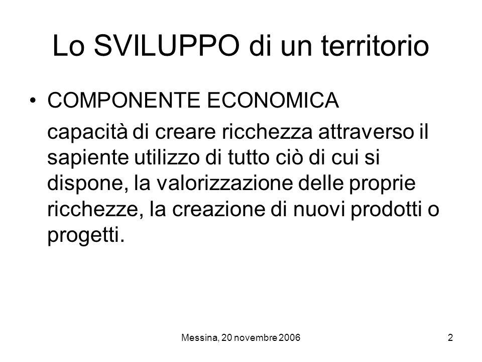 Messina, 20 novembre 200613 Lo Scenario Sistema produttivo generato per l'84% dai servizi (in Sicilia è il 79%) Tra il 2000 ed il 2004 il valore aggiunto della provincia di Messina è cresciuto del 2,3% a fronte del 3,8% regionale