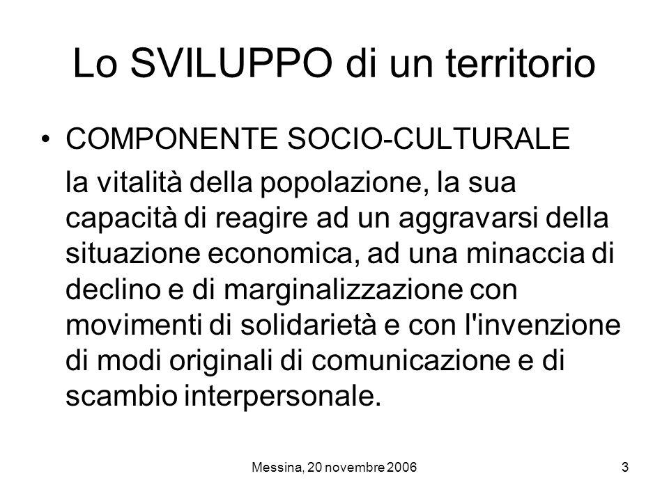 Messina, 20 novembre 200614 Lo Scenario Disoccupazione in fase calante La percentuale di diplomati e laureati (33,6%) è in linea con la media nazionale (33,4%) e di oltre tre punti maggiore della media regionale Rapporto tra offerta sanitaria pubblica e popolazione residente adeguato