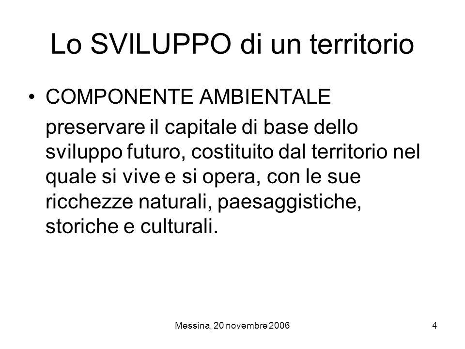 Messina, 20 novembre 20064 Lo SVILUPPO di un territorio COMPONENTE AMBIENTALE preservare il capitale di base dello sviluppo futuro, costituito dal territorio nel quale si vive e si opera, con le sue ricchezze naturali, paesaggistiche, storiche e culturali.