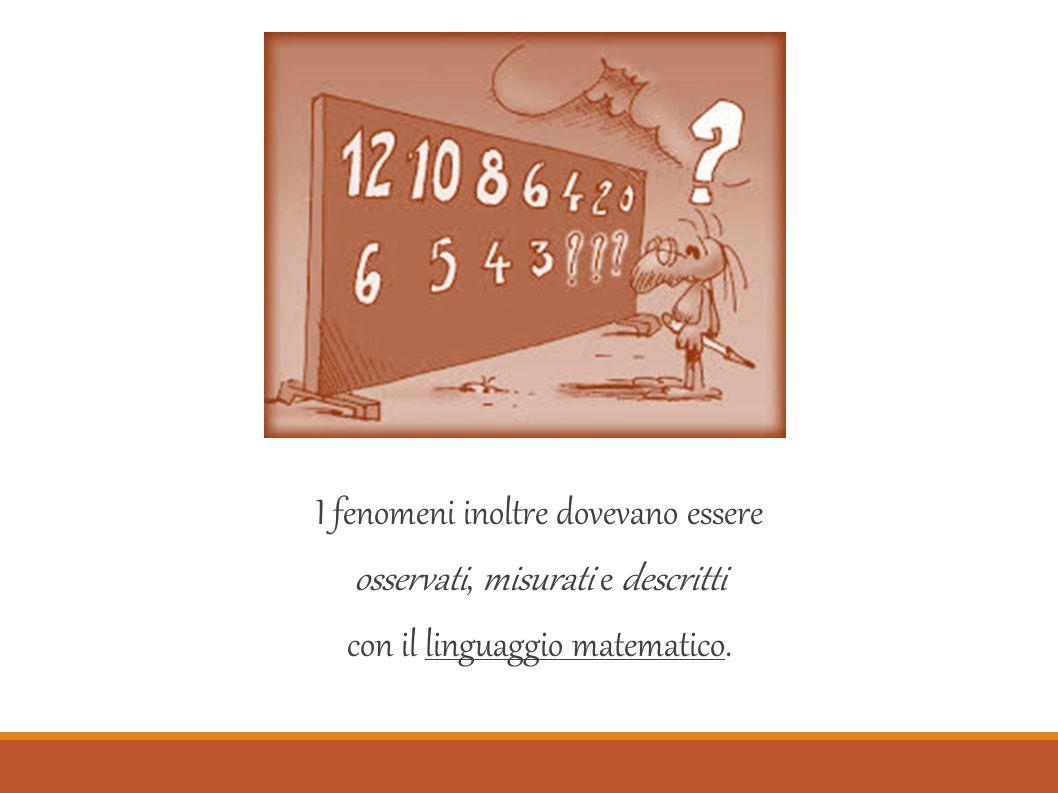 I fenomeni inoltre dovevano essere osservati, misurati e descritti con il linguaggio matematico.