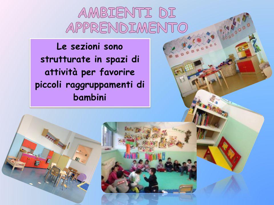 Le sezioni sono strutturate in spazi di attività per favorire piccoli raggruppamenti di bambini