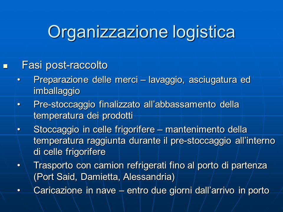 Organizzazione logistica Fasi post-raccolto Fasi post-raccolto Preparazione delle merci – lavaggio, asciugatura ed imballaggioPreparazione delle merci